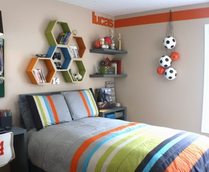 Small Bedroom Ideas For Male Teenagers With Shelves And Wall Hangings