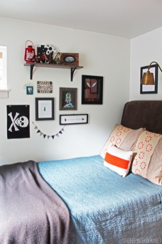 Small Bedroom Ideas For Teen Boys With Several Photo Frames And Wall Shelves