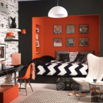 Small Bedroom Ideas For Teen Boys With Unique Black And Red Combinations