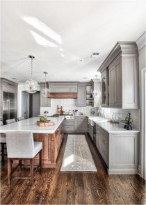 Whait And Grey Rusric Kitchen