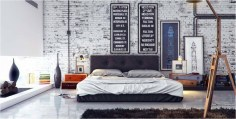 White Exposed Brick Industrial Bedroom With White Tiles Floor