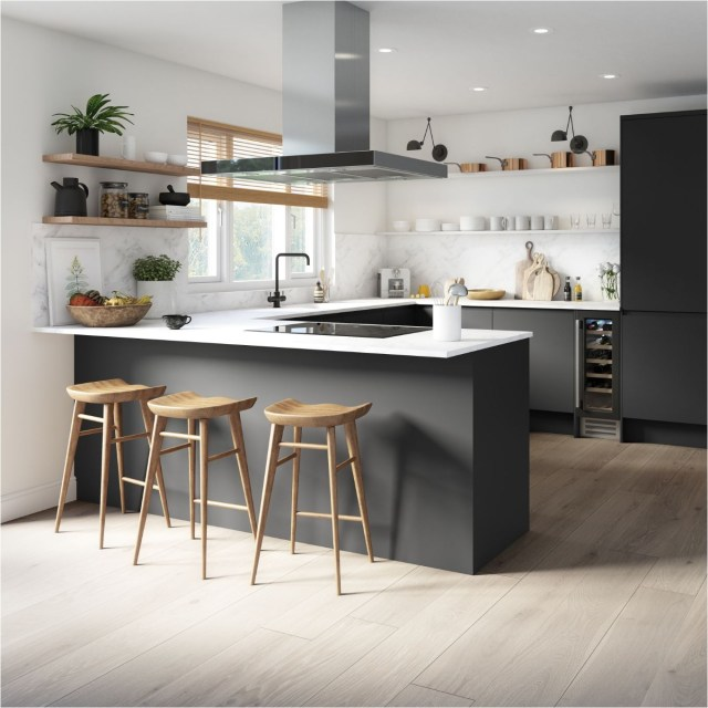 White Wall And Wood Floor Monochrome Kitchen
