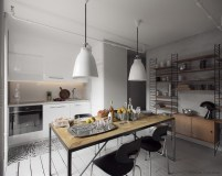Gray Colors for Open Style Dining Room