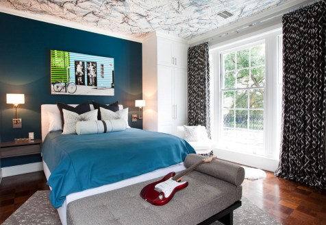 Small Bedroom Ideas For Boys With Dark Blue Walls And Matching Bed Linen