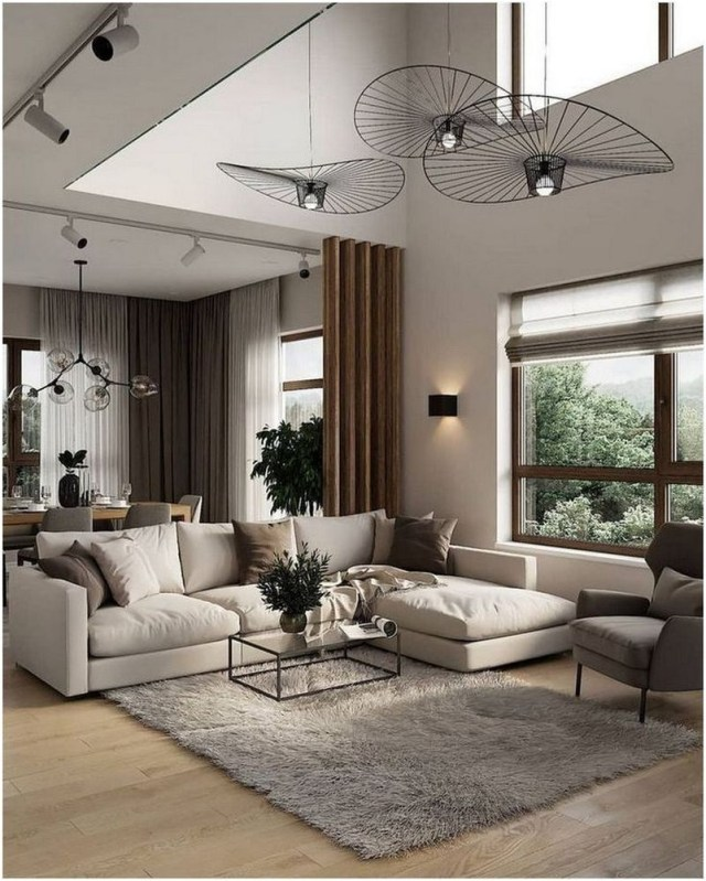 Artsy Pendant Lamp And Curtains Living Room Decorations