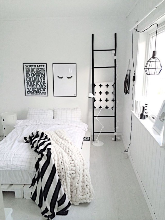 Black Accents for Elegant Bedroom Inspiration with All-White Themes