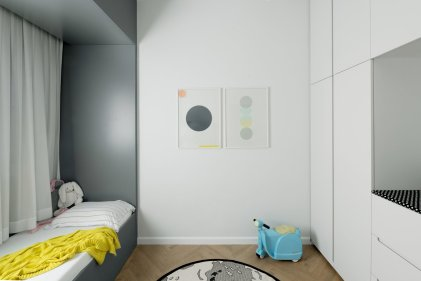 Child Bedroom for White-style Apartment with Refreshing Green Accents