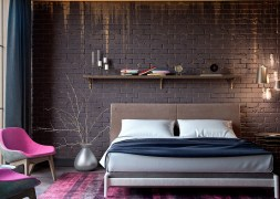 Cool for Bedroom with Brick Accents