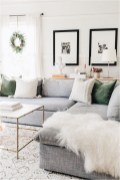 Green Seat Cushion In White Living Room Apartment