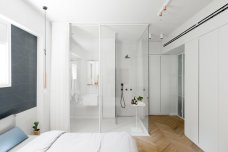 Main Bedroom for White-style Apartment with Refreshing Green Accents