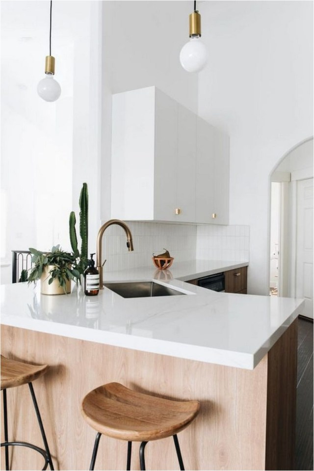 Minimalist Kitchen With Ball Pendant Decorations