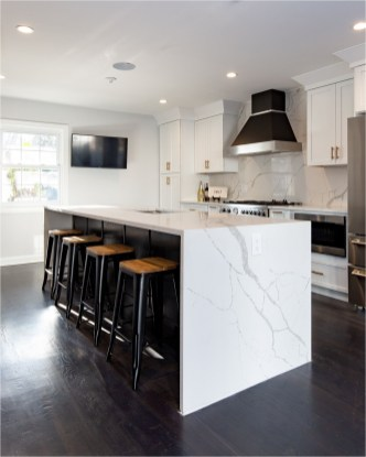 Modern Black And White Kitchen With Marble Table