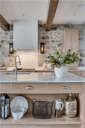 Modern Farmhouse Kitchen Ideas, With Stone Wall Accent