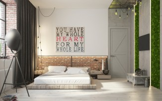 Natural Bricks for Bedroom with Brick Accents