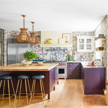 Purple Kitchen With Wood Accent Ideas