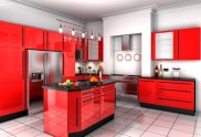 Asian Kitchen Inspiration for Modern Kitchen with Red Theme