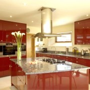 Marble Table for Modern Kitchen with Red Theme