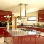 Modern Red Kitchen With Marble Table