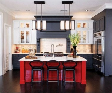 Red Kitchen Table With Grey And White Backsplash Ideas