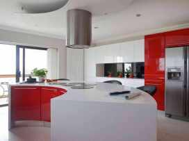 Semi-circular Cabinet for Modern Kitchen with Red Theme