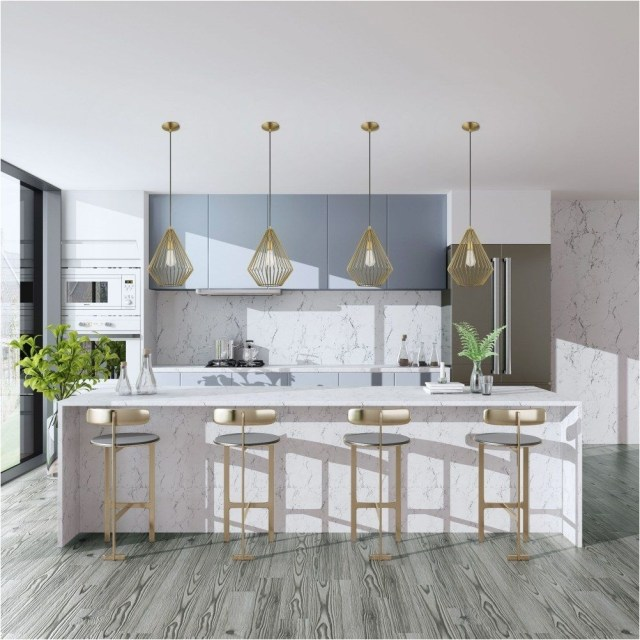 White Marble Kitchen With Gold Accent