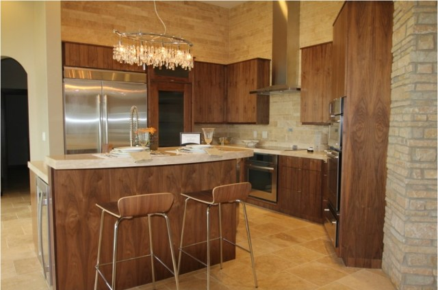 Wood Kitchen With Wood Chair And Chrome Legs