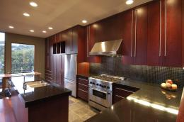 Wooden Cabinet for Modern Kitchen with Red Theme
