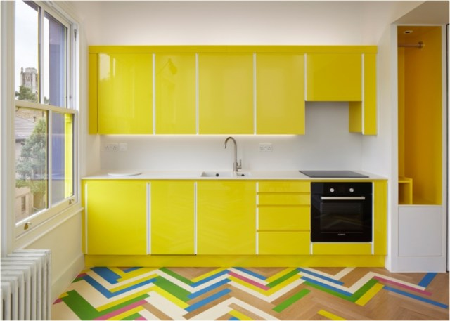Colorful Herringbone Patterned Flooring For Kitchen Ideas