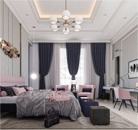 Luxury Bedroom With Simple Pink Chair