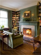 Vintage Fireplace With Book Shelf And Sofa