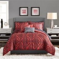 Red And Dark Grey Main Bedroom Ideas