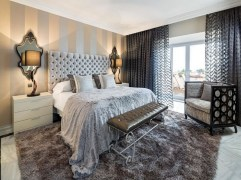 Stripes for Bedrooms with an Amazing Half and Half Color Combination