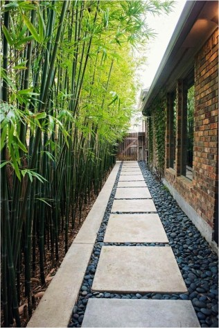 Bamboo Garden Ideas With Exposed Brick Wall