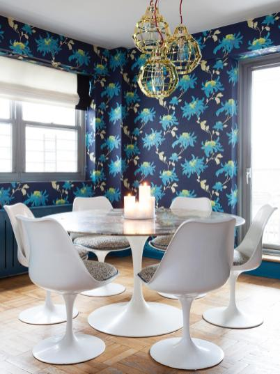 Beautiful Wallpaper for Dining Room with All-Blue Theme
