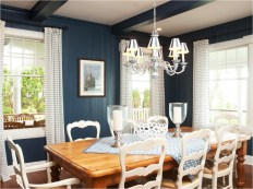 Classic Dining Room With White And Blue Color Combinations