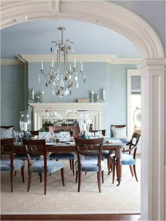 Classic Soft Blue Dining Room With Chandelier