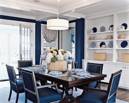 Focal Point for Dining Room with All-Blue Theme