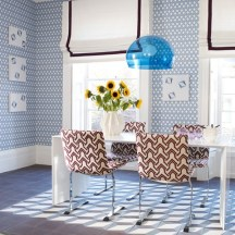 Full of Patterns for Dining Room with All-Blue Theme