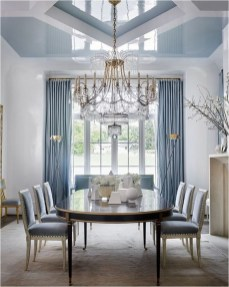 Luxury Dining Room With Long Curtain And Pendant Light