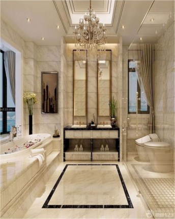 Luxury Bathroom With Candelier Lamp Ideas
