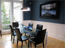 Masculine Blue And Black Dining Room