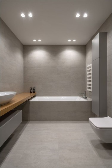 Minimalist Grey Bathroom With Dim Lamp