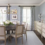Traditional Dining Room With Long Curtains