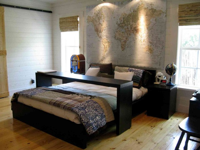 World Decorations for Men's Bedroom Design with Contemporary Masculine Style