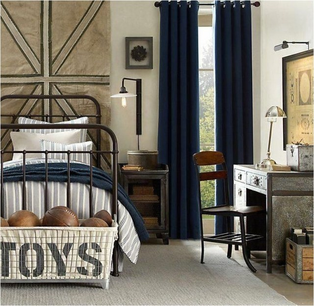 14 Idustrial Boys Bedroom With Sport Decorations