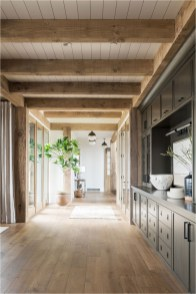 Hallway Floor And Ceiling Wood Accent