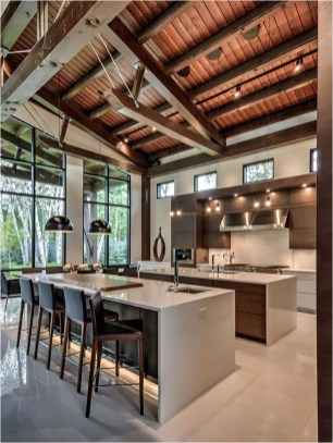 Industrial Kitchen With Pendant Lighting