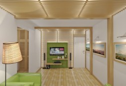 Oriental Atmosphere for Unique Ceiling Design with Wooden Beams