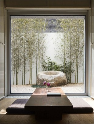 Relaxing Yard With Bamboo And Rock