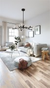 Scandinavian Living Room With Ball Chandelier